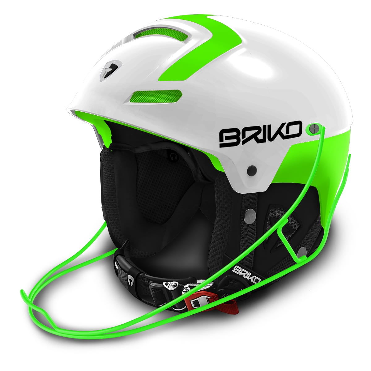 Briko Slalom Helmet with Chin Guard- White Green