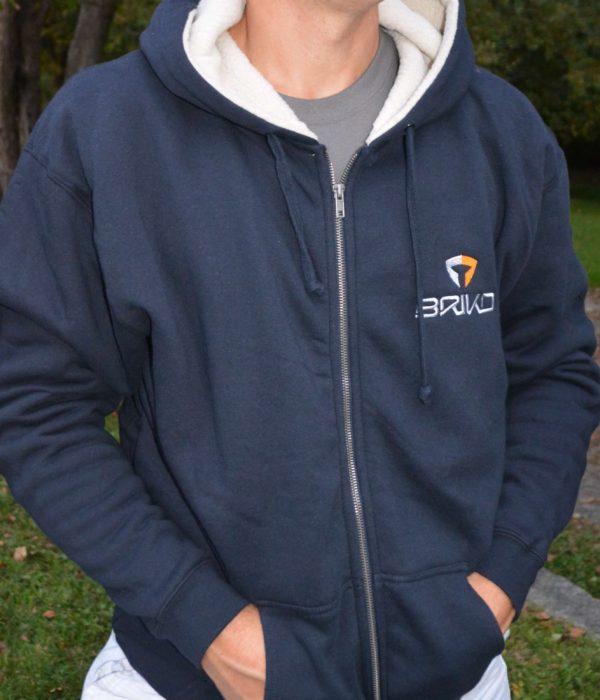 Heavy Weight Fleece Lined Full Zip Hoodie-Dark Blue