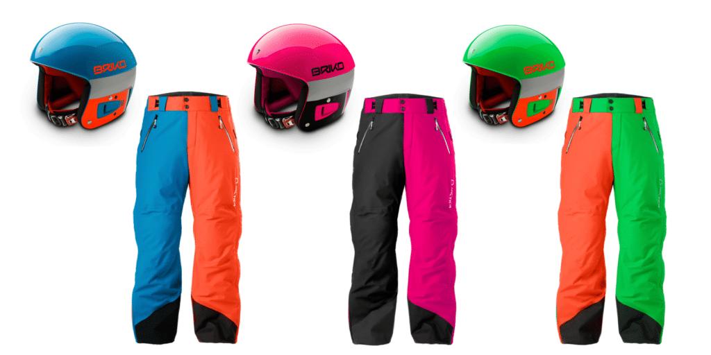 Briko Vulcano FIS helmets and matching Arctica 50/50 side zip pants