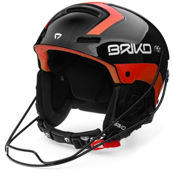 Briko Slalom Helmet with Chinguard - Shiny Black Orange