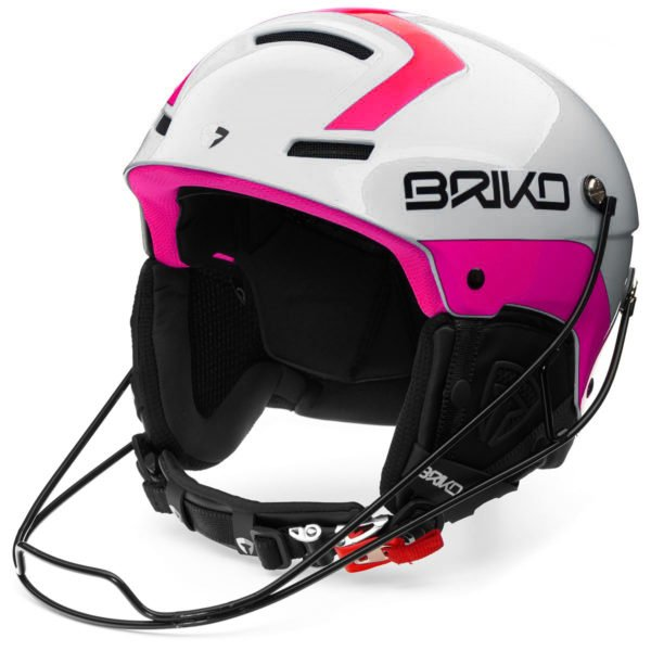 Briko Slalom Helmet with Chin guard - Shiny White Pink
