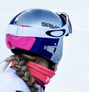 Lindsey Vonn back of Vulcano FIS helmet showing goggle strap over Protetto