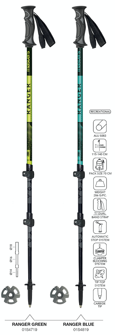 NEW Ranger trekking poles by Masters (2 colors) on World Cup Ski Shop
