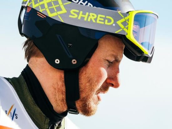 Ted Ligety wearing a Shred helmet and goggles